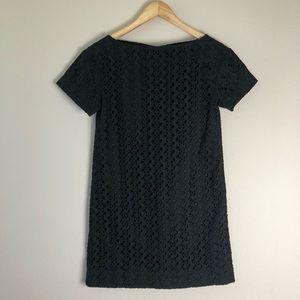 Kate Spade black eyelet short sleeve mini dress 0
